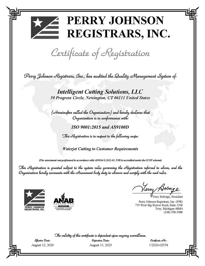 AS9100D & ISO9001:2015 Certifications